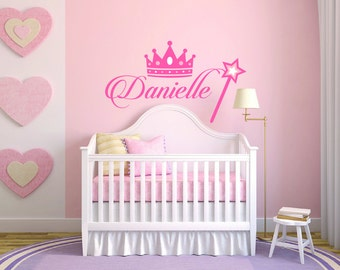 Personalized Name Crown And Magic Wand Baby Girl Room Nursery - Mural Wall Decal Sticker For Home Bedroom (382)
