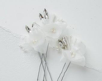 Delicate Silk Organza Hair Pins (Set of 3)   3D Sheer Off White Floral Hair Pins