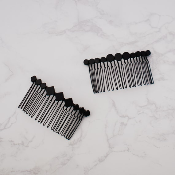 Ultra Modern Bridal Handmade Geometric Headpiece Minimalist and Contemporary Style Art Deco Geometric Matte Black Beaded Hair Comb