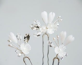 Scattered Flower Bud Hair Pins (Set of 3 Hair Pins)   Simple and Modern Wedding Accessories   Bridesmaid & Bridal Hair Pins
