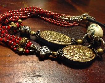 Tibetan jewelry' Nepal jewelry ' India Jewelry  Coral 'necklace