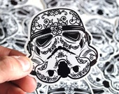 Stormtrooper Helmet Sugar Skull Gloss Coated Vinyl Die Cut Stickers