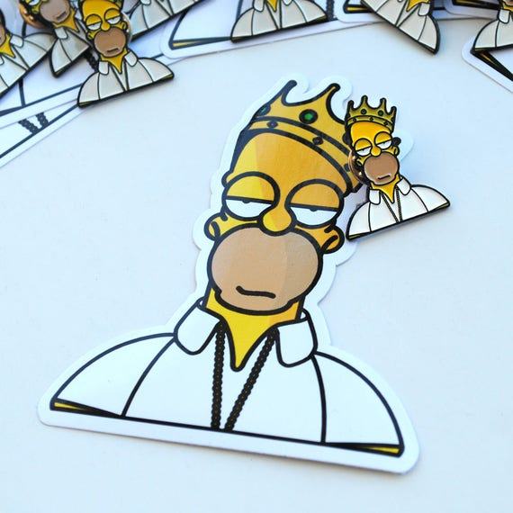 Homer Simpson x Biggie Smalls Pin & Sticker Set Homie Smalls