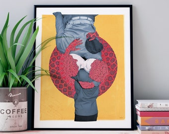 Retro vintage poster colorful poster style collage showing lovers kissing with a mandala titled: Get to the other side
