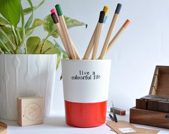 """Birthday gift """"live a colourful life"""" pencil cup, student treat, desk decor - 5 pencils included"""