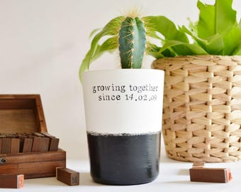 Wedding anniversary gift, succulent, cactus, personalised vase, planter plant milestone,  best friend, home decor design, twins gift, love