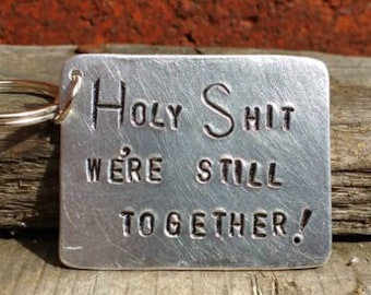 Valentines Day Ten Year Tin Anniversary Aluminium Keyring Husband Wife Gift for Him Men Love Funny Cheeky Cute Love Loving Married FREE POST