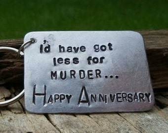I'd have got less for Murder HAPPY ANNIVERSARY Gifts Keyring Keychains Silver Tin Aluminium Wedding Gift 10 Year Funny Cheeky Joke FREE Post