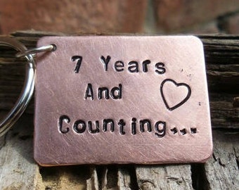 7 Year Wedding Anniversary Keyring Seventh Copper 7th Gifts Quality Keychain Husband Wife Him Her Marriage Love Years and Counting FREE POST