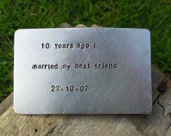 10 Years Ago I Married My Best friend Wallet Insert Handmade Bespoke Gifts for Men Him Tin Romantic Forever Aluminium Anniversary FREE POST