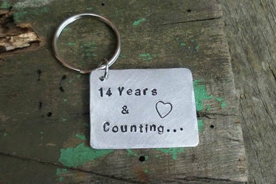 Wedding Anniversary Gift Present 14 Years And Counting Keyring Etsy
