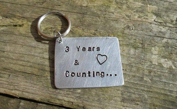 3 years and counting year leather anniversary three keyring etsy