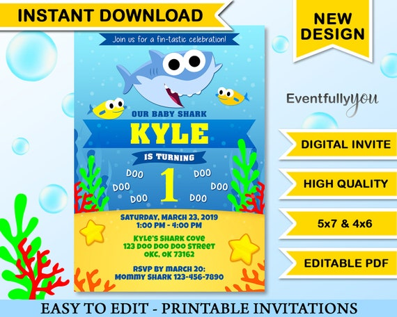 Instant Download Baby Shark Birthday Invitation Party Invite