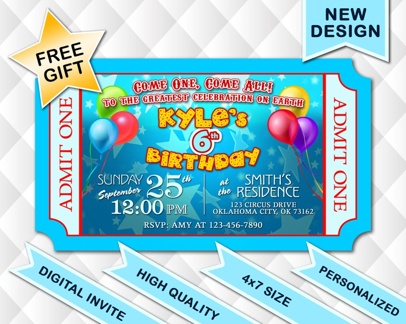 Kids Carnival Ticket Birthday Invitation Boy Or Girl Circus Digital Printable Invite Admit One State Fair Free Gift Tag