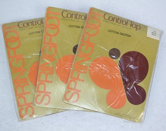 Vintage 1980's Lot of 3 Pairs SPRINGFOOT Control Top Pantyhose Hose w/ Cotton Crotch, Beige Size A New Old Stock