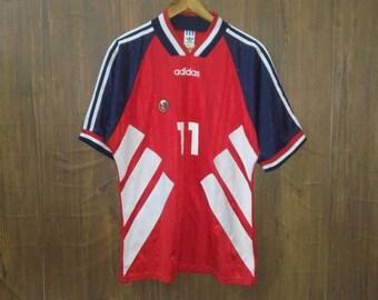 b64bdbdd2 Vintage Adidas football jersey three stripes large size made in UK