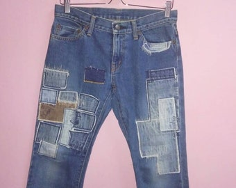 Vintage 90s Kinky Jeans By Hysteric Glamour Stars Patchwork..Free Size..Made in Japan