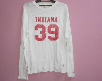 Vintage Champion proceseed sportwear tee shirt long sleeve indiana 39 large size L