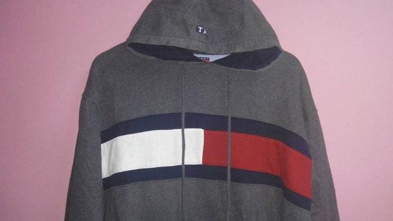 big large pocket Hilfiger Tommy flag hoodie center sweat Vintage logo L size If7qCwCn