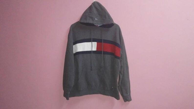 18295124 Vintage Tommy Hilfiger sweat hoodie big flag logo center   Etsy