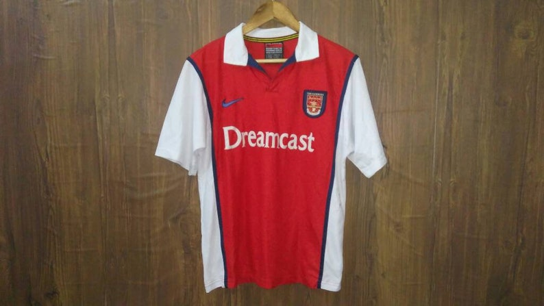 new product 1bcdb 28dbf Vintage Nike football jersey Arsenal Dreamcast the gunners large size made  in UK
