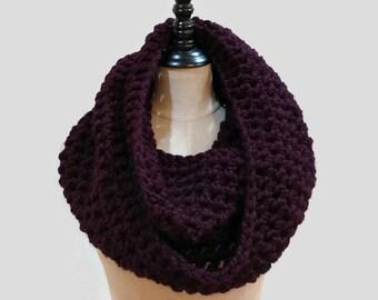 Crochet wool infinity scarf, chunky knit eggplant cowl, dark purple scarf, bulky circle scarf,  ready to ship