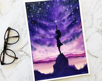 Catch the stars anime inspired watercolor painting