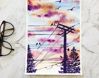 Sunset original watercolor painting by artbybee7