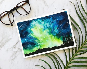 Green galaxy space original watercolor painting