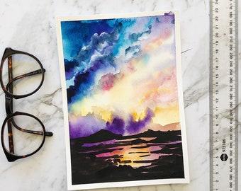 Sunset landscape original watercolor painting by artbybee7