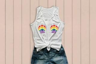 Mermaid pride tank top, lgbtq tank, seashell bra shirt, mermaid rainbow tank top, pride flag tank top, gay pride festival gift size S M L