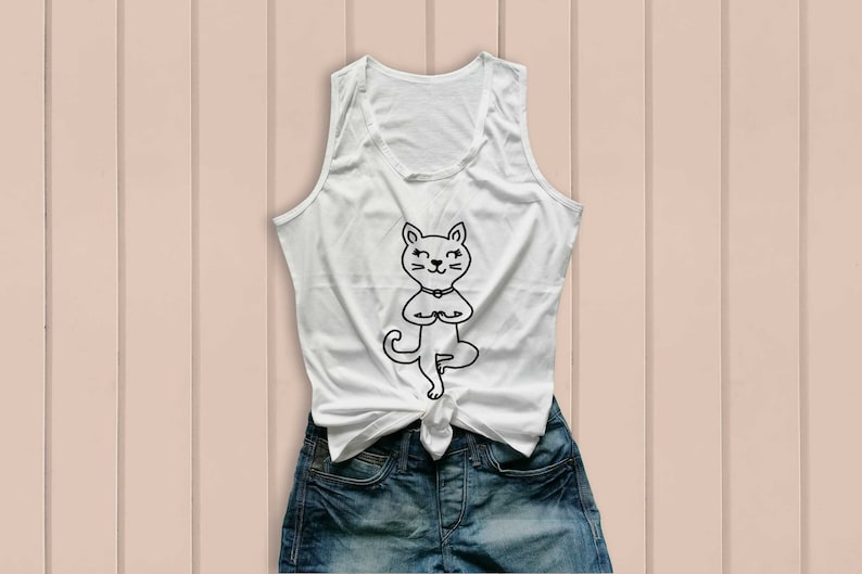 Yoga tank tops yoga t shirts funny cat shirt gifts cute cat printed tank tops workout tanks clothes size S M L