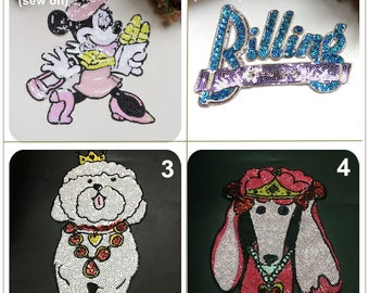 5db5a841d4f4 Glitter Sequins Poodle Dog Minnie Mickey Mouse Letters Applique Animation  cloth patch DIY Craft decorative cloth handbag accessory supply