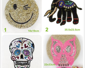 Elephant Sequins Sew On Patches For Clothes DIY Bag Clothing Coat —QY