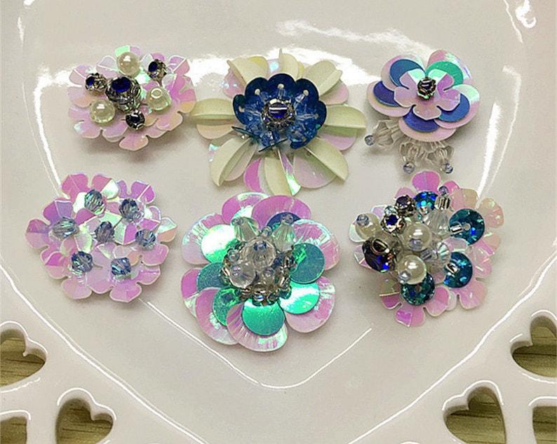 Sequins Crystal Beaded Pink Flower Applique cloth DIY Brooch badge Craft decorative Party cloth handbag accessory Craft supply