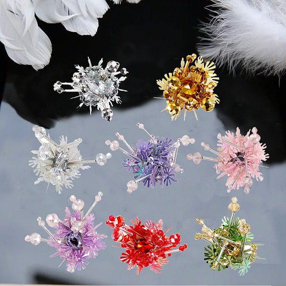 2 3x2 3cm Crystal Sequins Beaded Colorful Snowflake Flower Etsy