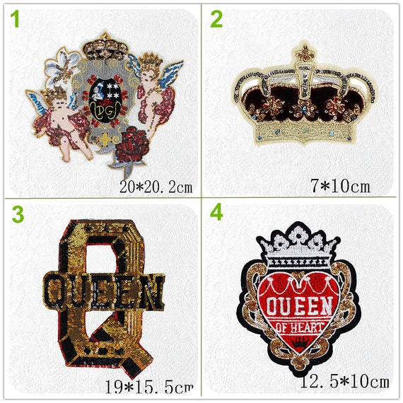 Glitter Sequins Beaded Queen Heart Crown Letter Wing Angel Applique Cloth Patch Diy Badge Craft Cloth Handbag Accessory Supply