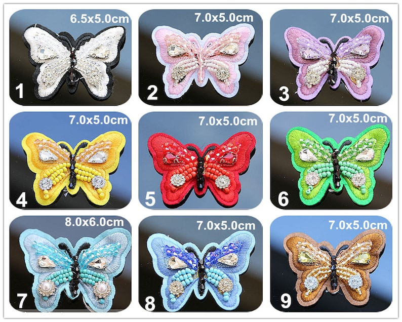 Crystal Beaded Colorful Butterfly Applique cloth Patch DIY Brooch badge Craft cloth handbag accessory Craft supply