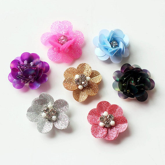 Sequins Beaded Petals Flower Applique Small Flower Patch Cloth Etsy