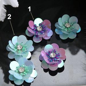 Sequins Crystal Pearl Beaded Purple Flower Applique cloth DIY Brooch badge Craft decorative Party cloth handbag accessory Craft supply