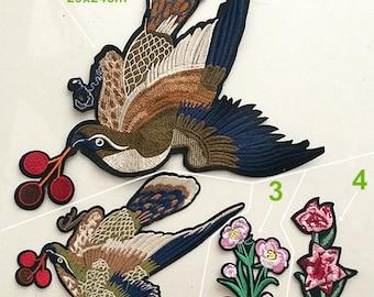 Fabric Applique Bird flower cloth handsew applique DIY garment accessories decorative Jacket cloth