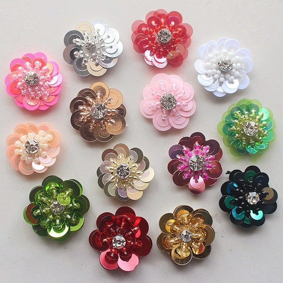 Sequin Crystal Beaded Flower Applique Cloth Stickers Diy Etsy
