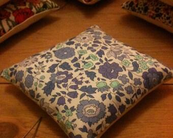 Ella and Libby Pin cushion handmade with Liberty fabric