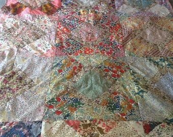 Handmade patchwork quilt with Liberty fabrics