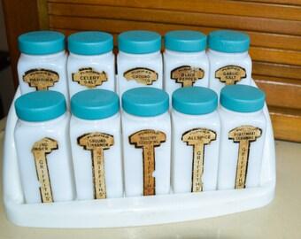 City Scene Design Vintage Milk Glass Spice Shakers Made in Belgium