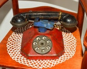 Vintage Toy Telephone, Childrens Rotary Phone, Vtg Tin Toys, 1940s, Kids Antique Toys, Red Blue Black, Toy Collector Gift, Birthday Gift