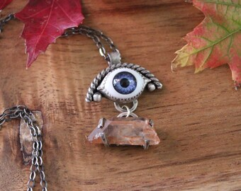Eye Necklace with Quartz, Creepy Eyeball Jewelry