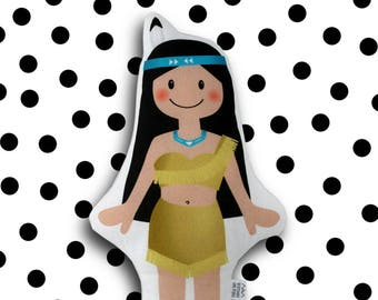 little indian girl - fabric doll plush pillow girls kids room