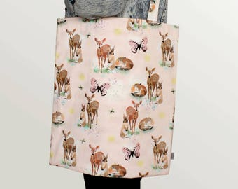 lined tote bag – three forest friends