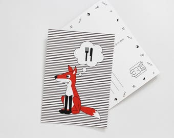 Postcard - hungry fox - stripes forest creatures woods wild animal